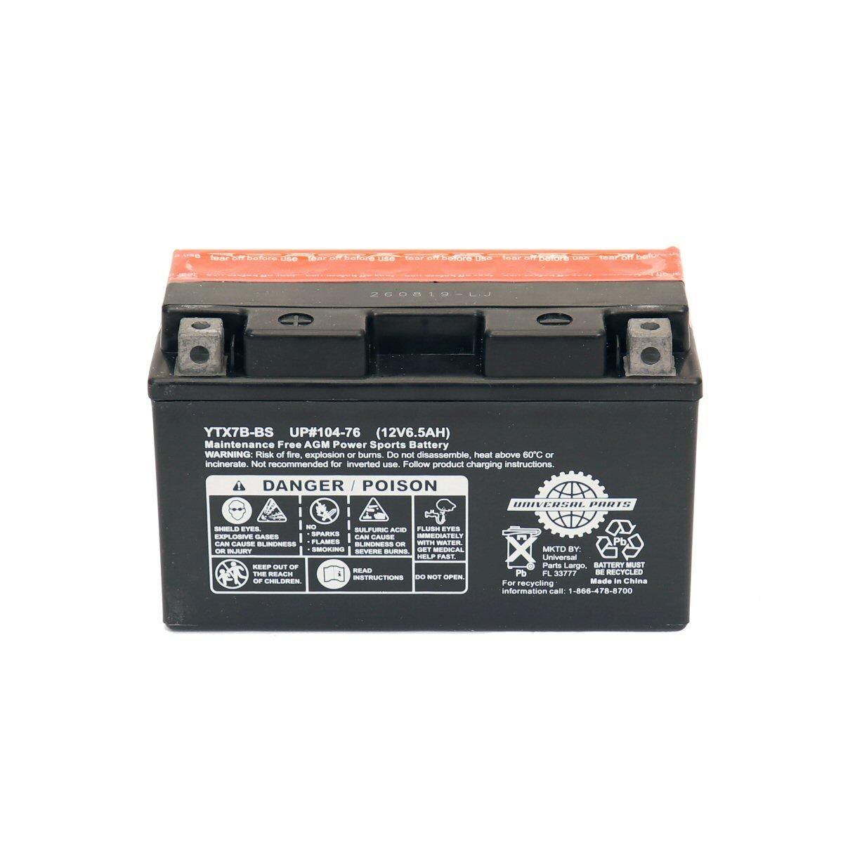 Universal Parts 12 Volt 6.5 Amp YTX7B-BS Battery