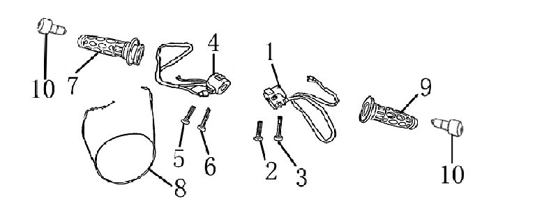 Control parts on handle bar such as Throttle, Grips