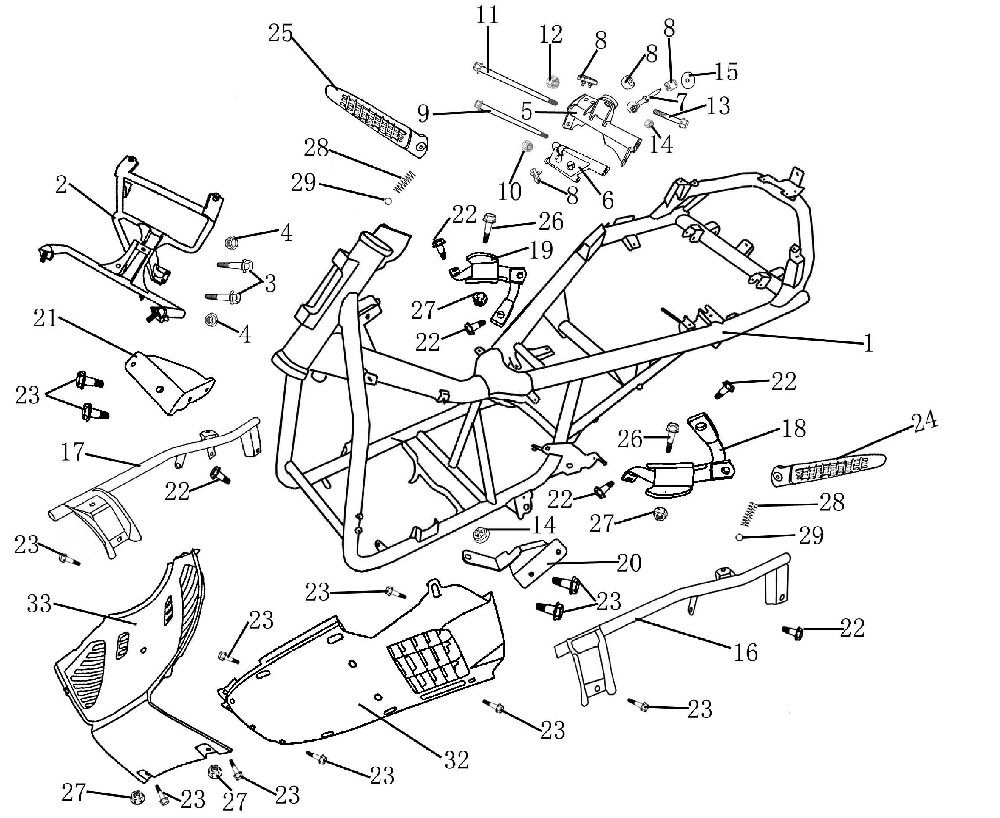 250cc scooter frame parts including foot pegs, bolts