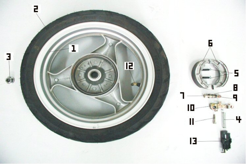 Engine Diagrams > 150cc GY6 4-stroke Scooter Parts > Wheel-Rear