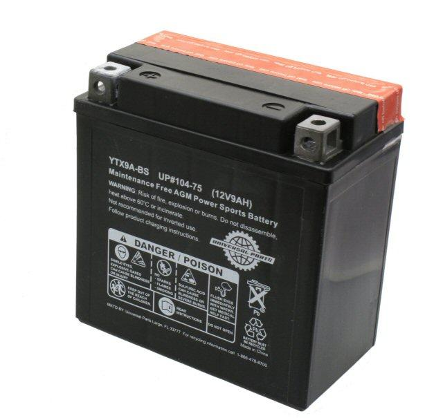 Universal Parts 12 Volt 9 Amp YTX9A-BS Battery