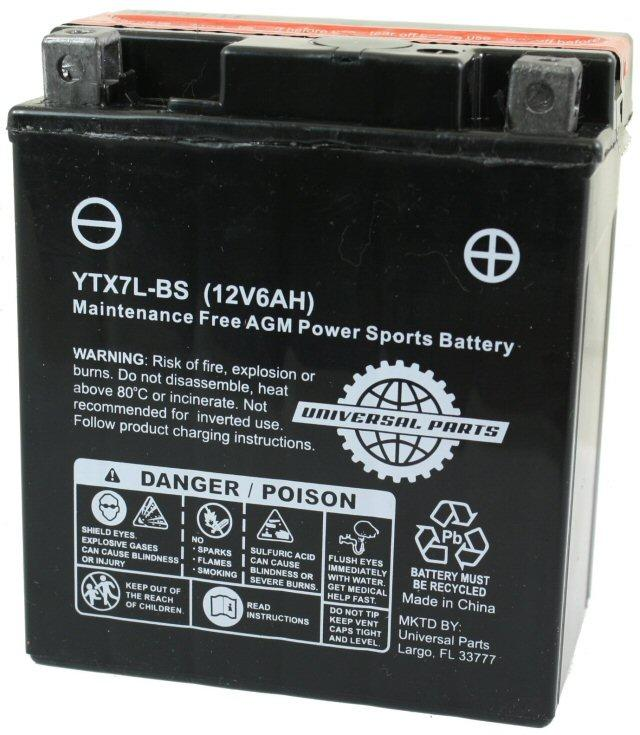 Universal Parts 12 Volt 6 Amp YTX7L-BS Battery